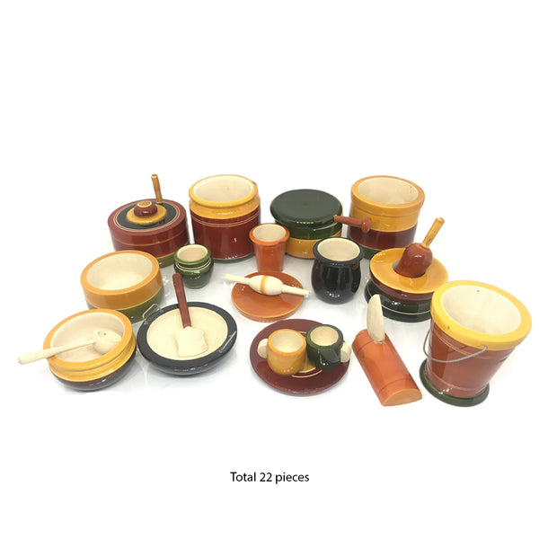 Eco-Friendly Wooden Toy Kitchen Set of 22 Pieces - Choppu Jaman