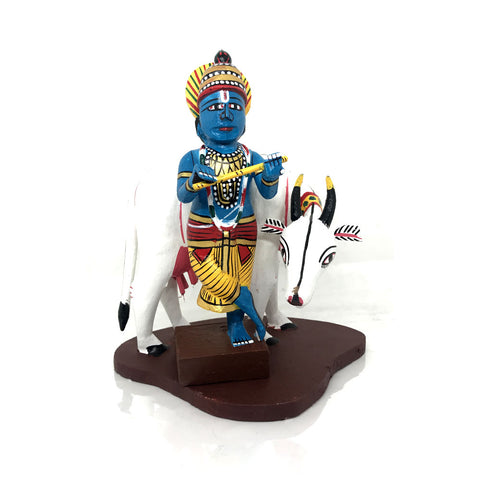 Krishna and Cow - Kondapalli Toys