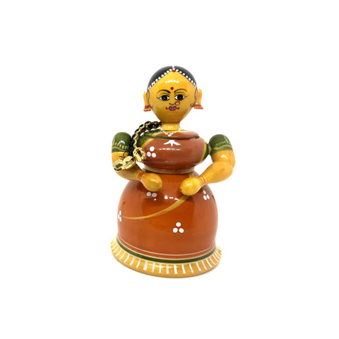 Traditional Lady Figurine Kumkum Box - Etikoppaka Handicraft