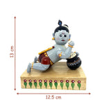 Baby Krishna with butter pot - Artsytribe Handicraft - Etikoppaka toy online
