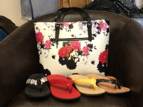 JR tote and Vionic sandals