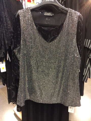 Silver shimmering top