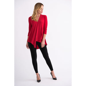 JR 3/4 Sleeve Tunic - Style 161066, lipstick red, front img2