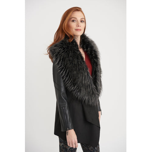 Joseph Ribkoff Faux Fur Collar Coat - Style 203116, side