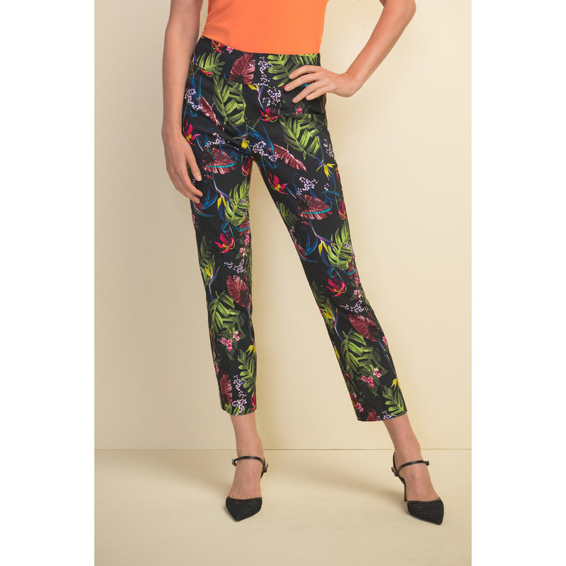 Joseph Ribkoff Tropical Pattern Pull-On Ankle Pant - Style 211161, front
