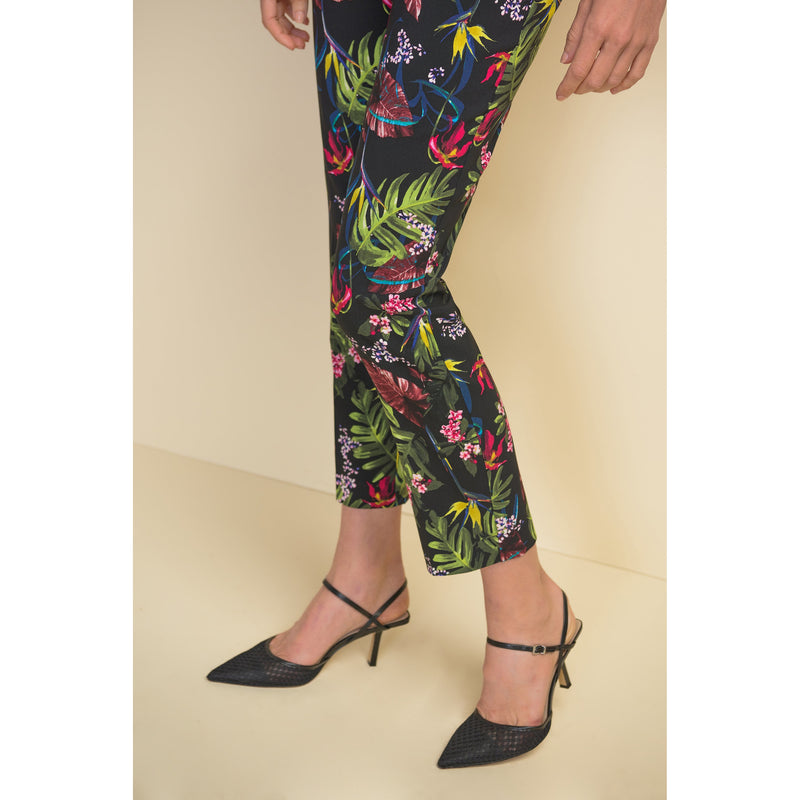 Joseph Ribkoff Tropical Pattern Pull-On Ankle Pant - Style 211161, hem
