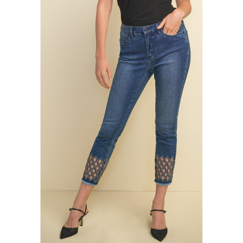 Joseph Ribkoff Lattice Cropped Jeans - Style 211967, front