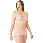 Wacoal Net Effect Soft Cup Bralette - Style 810340, rose, side with panty