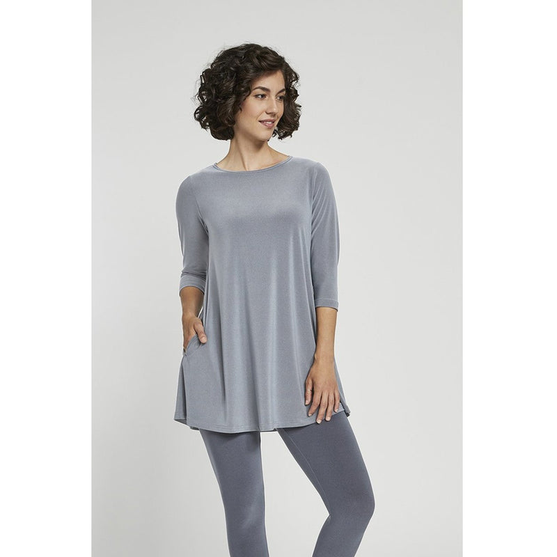 Sympli 3/4 Sleeve Trapeze Tunic - Style 23155-2, silver, front