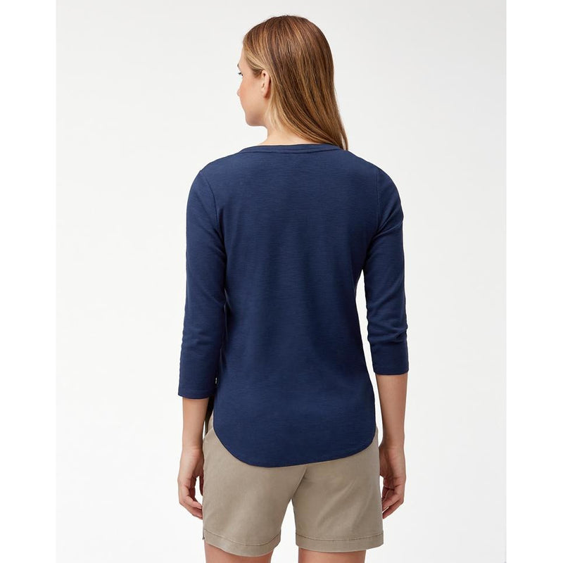 Tommy Bahama Ashby 3/4 Sleeve T-Shirt - Style TW211247, back, navy
