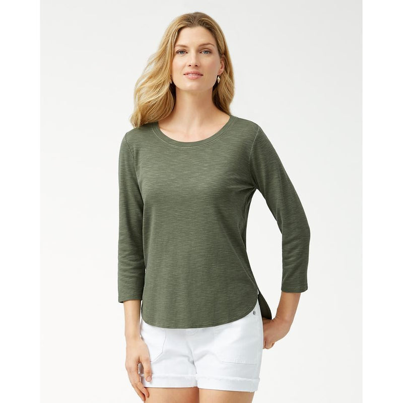 Tommy Bahama Ashby 3/4 Sleeve T-Shirt, palm moss, front - Style TW211247,