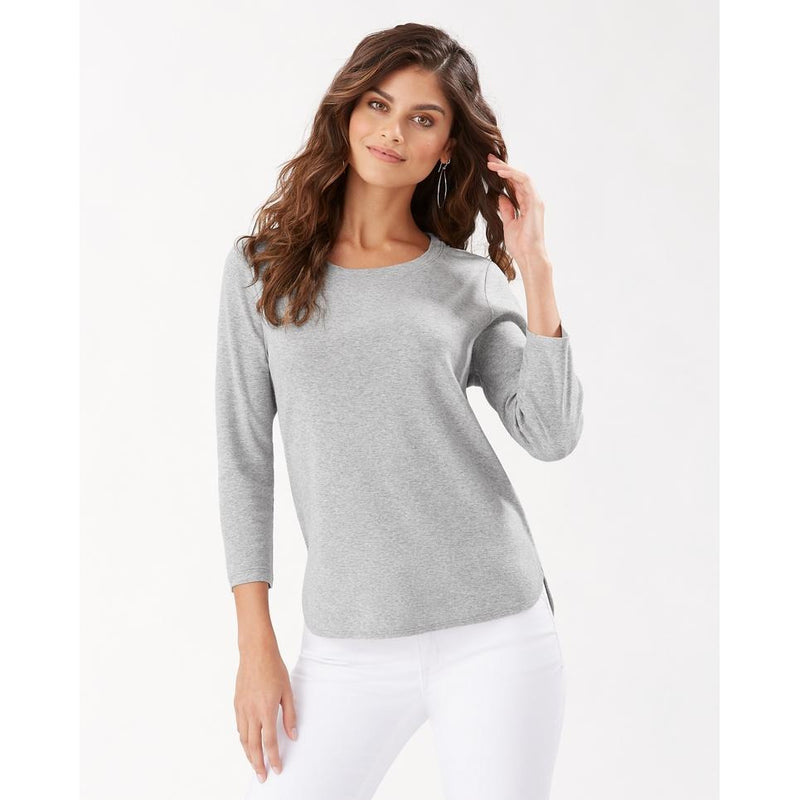 Tommy Bahama Ashby 3/4 Sleeve T-Shirt - Style TW211247, grey, front