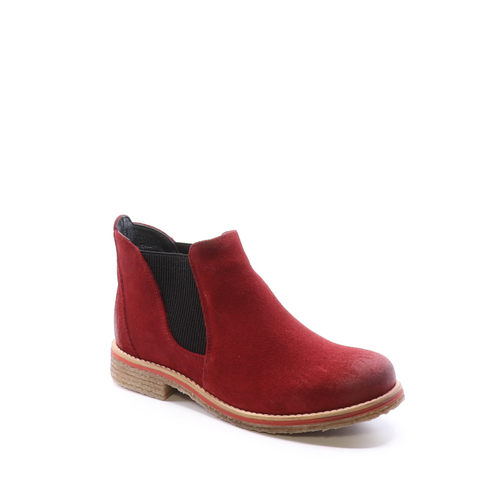 Bos & Co Waterproof Suede Ankle Boot - Style Brave, scarlet, side