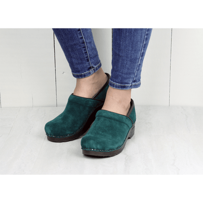 Sanita Nina Women's in Dark Green Closed Back Clog