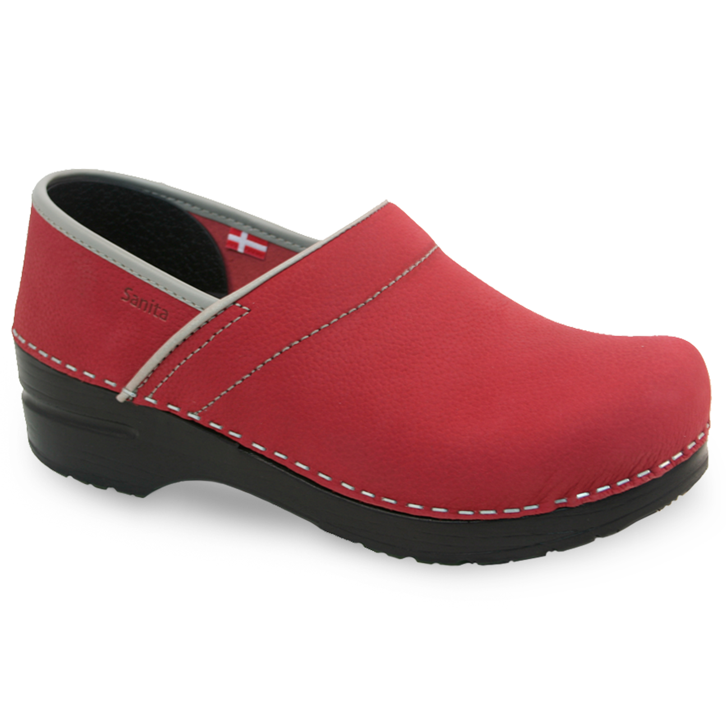 Sanita Pro. Textured Oil Women's in Dark Red Closed Back Clog