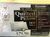 Quilted Goose Down Pillow - 1400 Grams