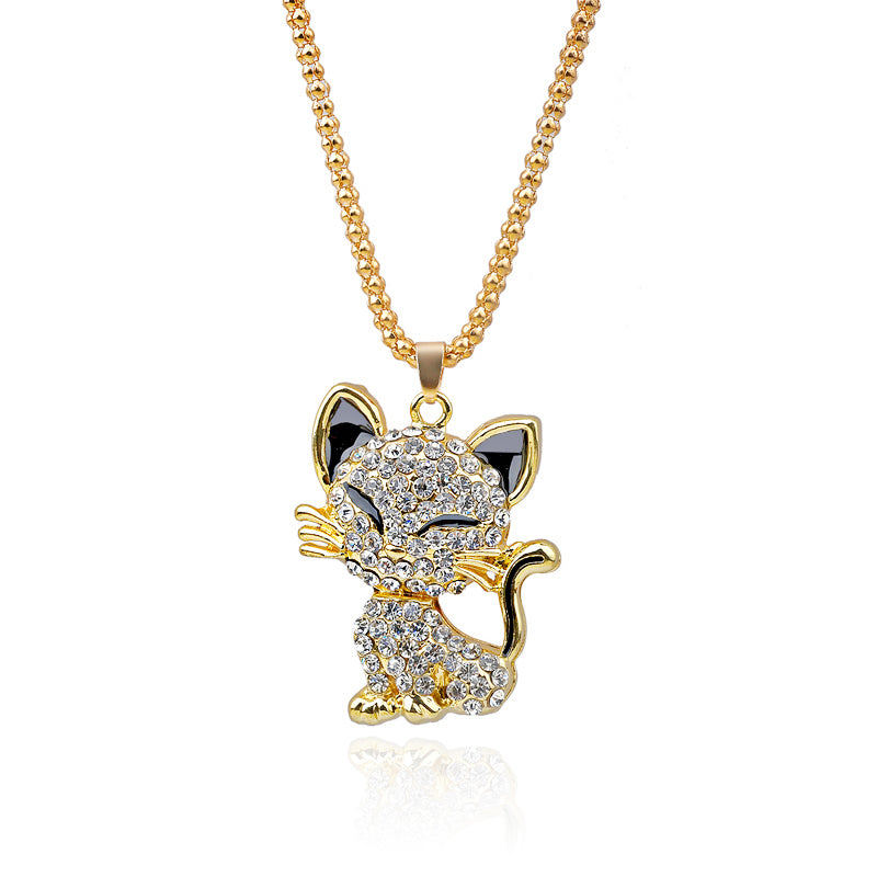 Rhinestone Cat Popcorn Chain Necklace - 2 Dogs & A Cat