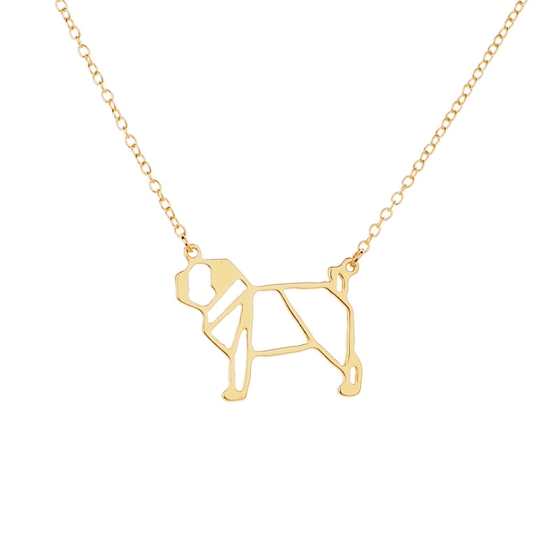 Link Chain Metal Dog Pendant Necklaces - 2 Dogs & A Cat