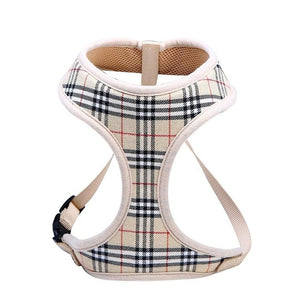 Classic Plaid Nylon Mesh Soft Dog Harness - 2 Dogs & A Cat