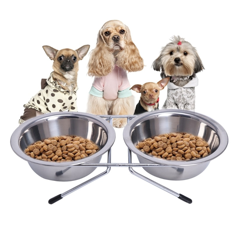 Rounded Stainless Steel Double Pet Bowls - 2 Dogs & A Cat