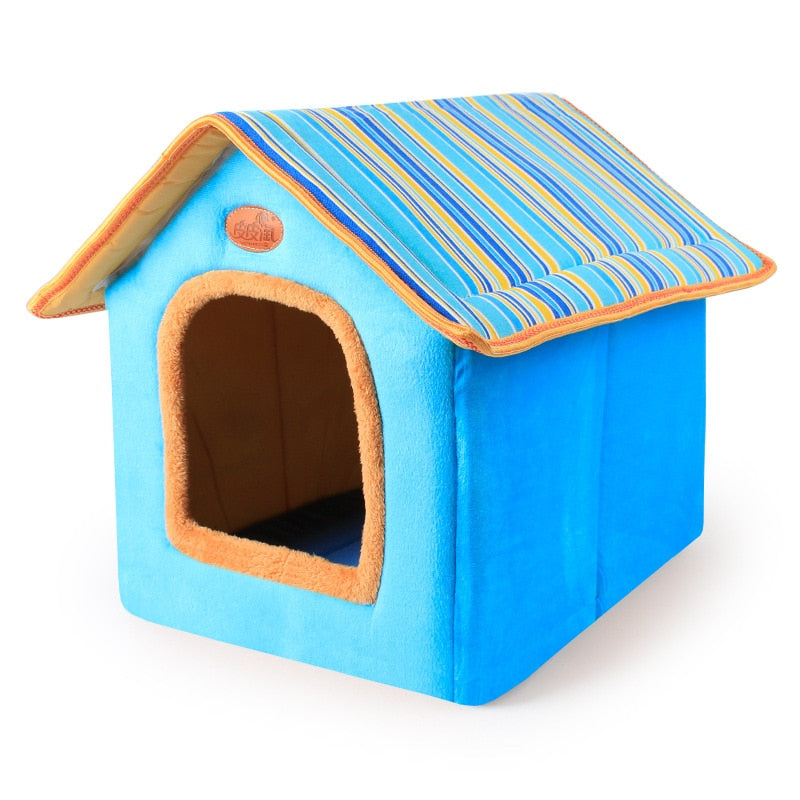 Striped Removable Cover Dog House - 2 Dogs & A Cat