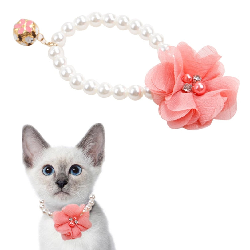ABS Pearl Lace Flower Pendant Cat Collar - 2 Dogs & A Cat