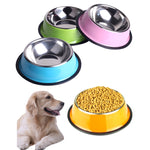 Universal Stainless Steel Dog Feeding Bowls - 2 Dogs & A Cat
