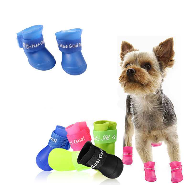 Rubber Silicone Waterproof Dog Rain Shoes - 2 Dogs & A Cat