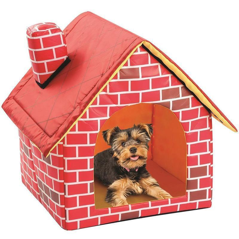 Brick Pattern Washable Dog House - 2 Dogs & A Cat