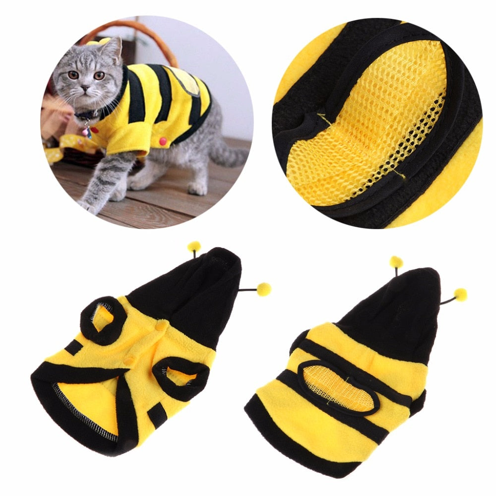 Bee Costume Soft Warm Coat For Cat - 2 Dogs & A Cat
