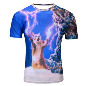 O-Neck 3D Print Lightning Cat Funny T-Shirts - 2 Dogs & A Cat