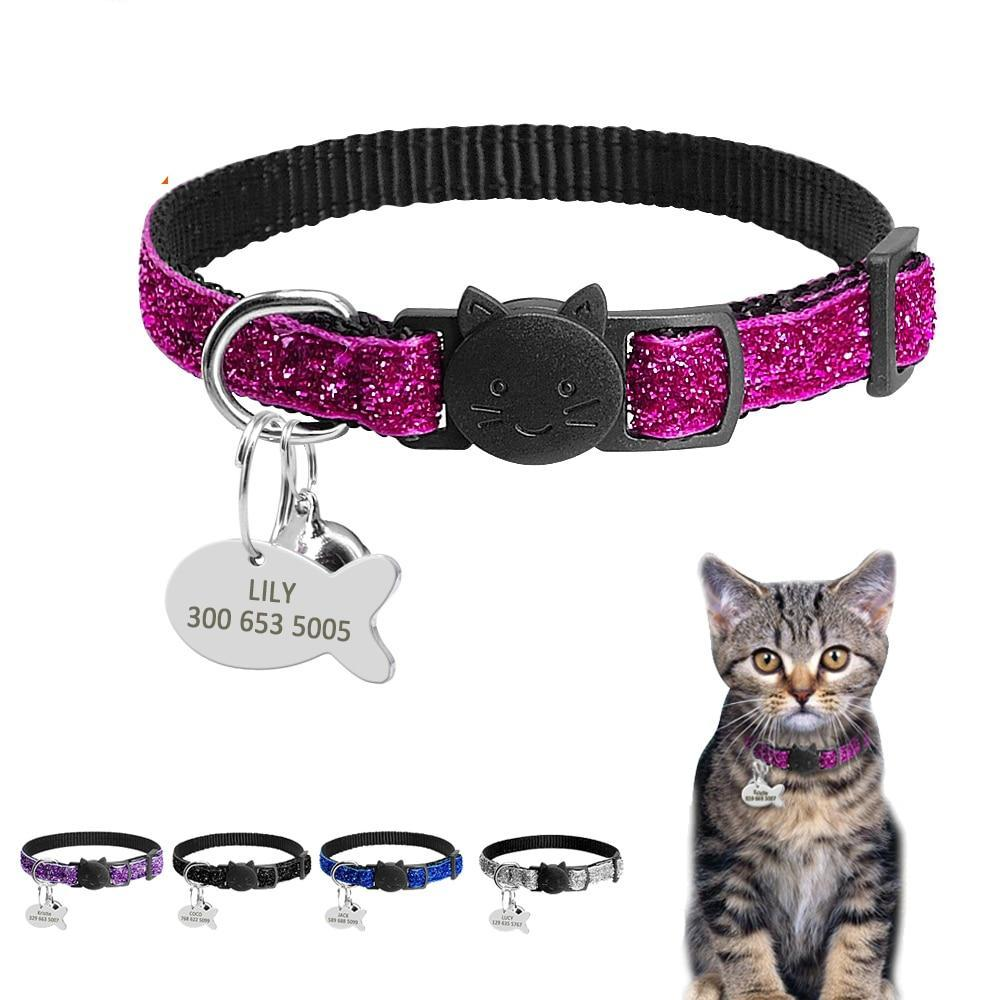 Personalized Nylon Quick Release Cat Collar - 2 Dogs & A Cat