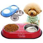 Dog Stainless Steel Travel Feeding Bowl - 2 Dogs & A Cat