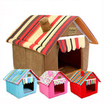 Striped Removable Cover Mat Dog House - 2 Dogs & A Cat