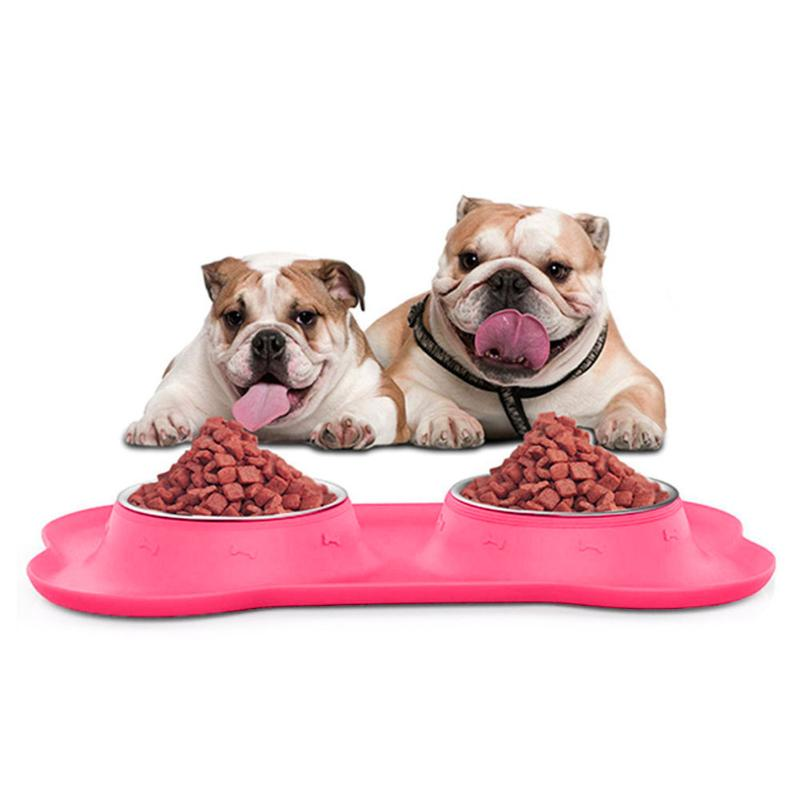 Double Dog Bowl With Non-Skid Silicone Mat - 2 Dogs & A Cat