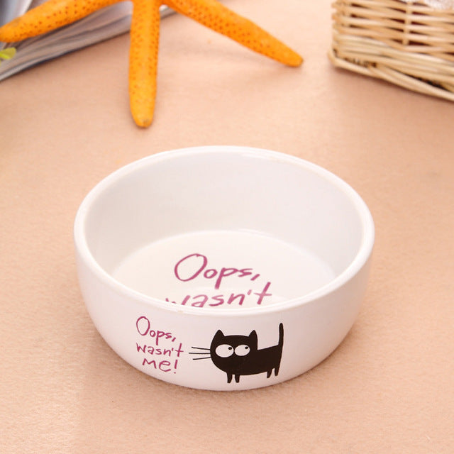 Good Quality Ceramics Cat Pattern Feed Bowls - 2 Dogs & A Cat