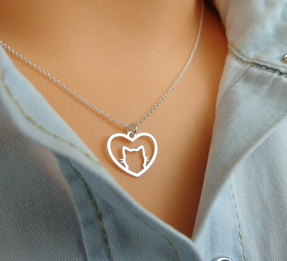 Heart Cat Pendant Link Chain Necklace - 2 Dogs & A Cat