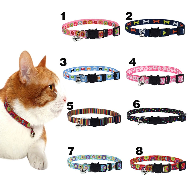 Buckle Adjustable Kitten Cats Printing Collars - 2 Dogs & A Cat