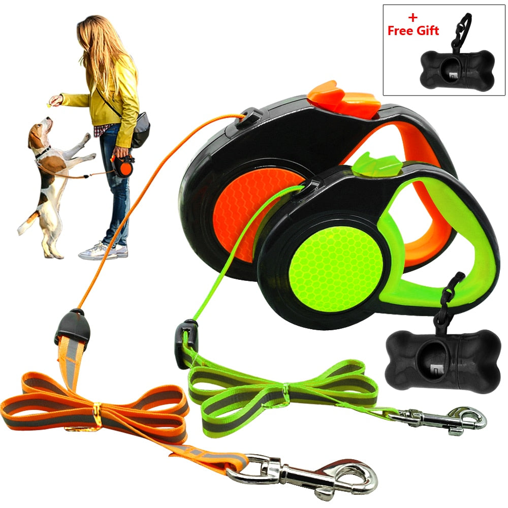 Automatic Extending Walking Lead Dog Leash - 2 Dogs & A Cat