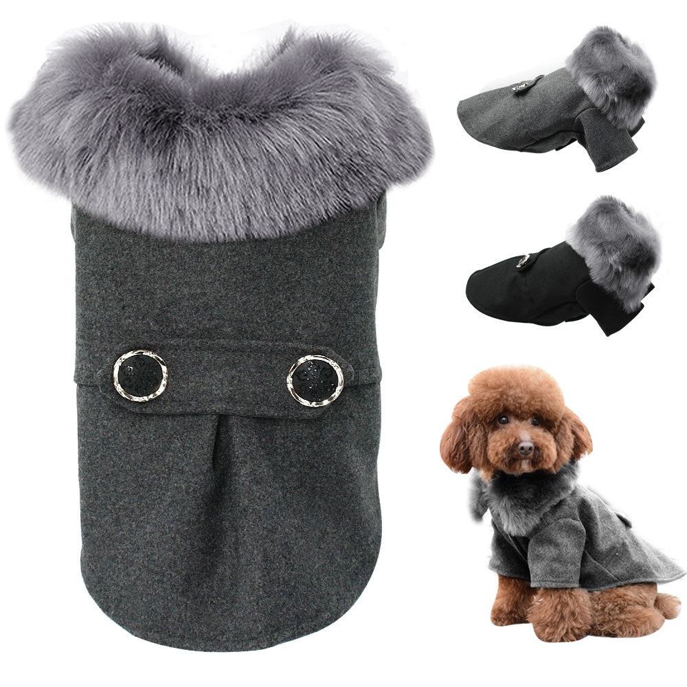 Chihuahua Clothes Winter Dog Jacket With Fur - 2 Dogs & A Cat
