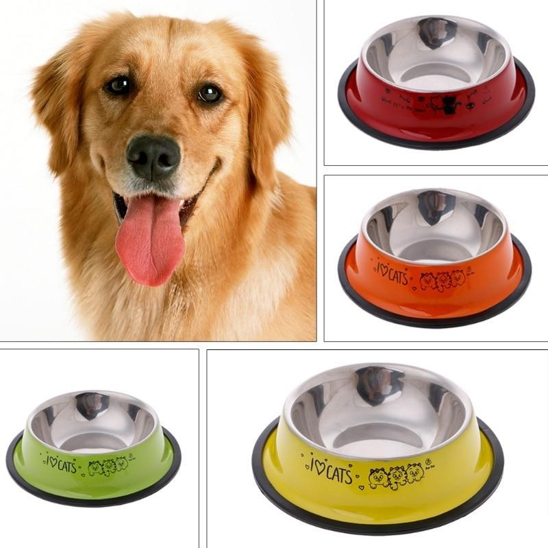 Multi-color Anti-Skid Stainless Steel Dog Bowl - 2 Dogs & A Cat