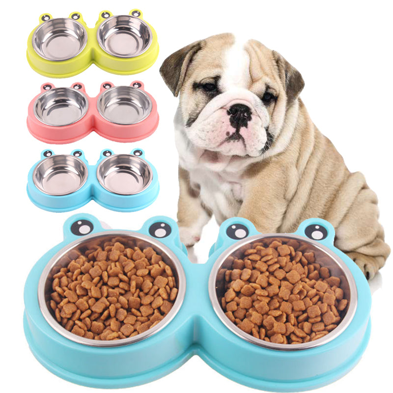 Cute Shape Dog Feeder Drinking Bowl - 2 Dogs & A Cat