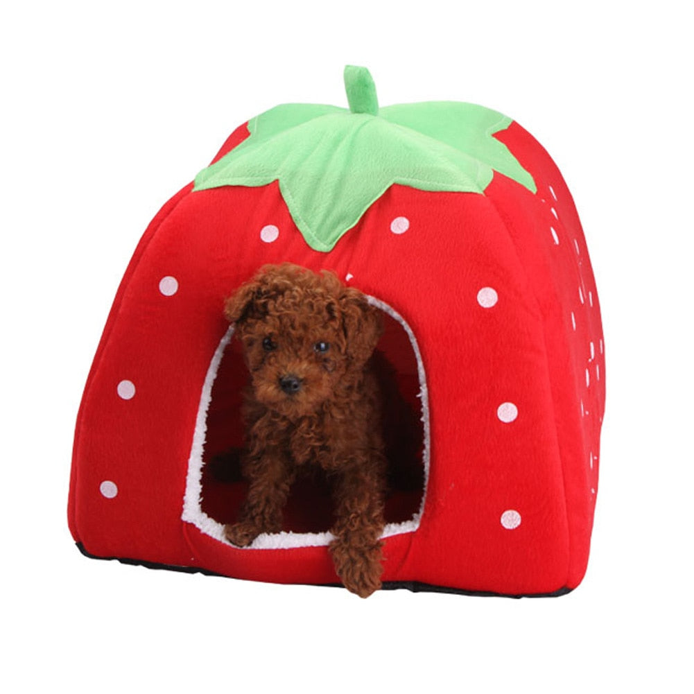 Velveteen Cotton Foldable Dog House - 2 Dogs & A Cat