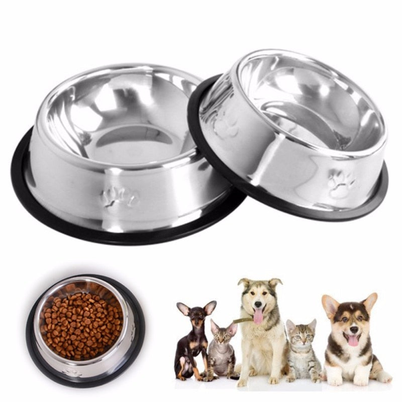 Stainless Steel Pet Feeding Bowls - 2 Dogs & A Cat