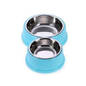 Double Puppy Cat Food Stainless Steel Bowl - 2 Dogs & A Cat
