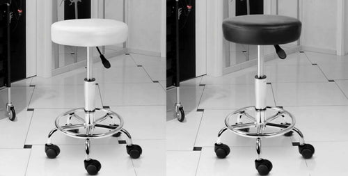 Leather Look Swivel Salon Stool Black or White