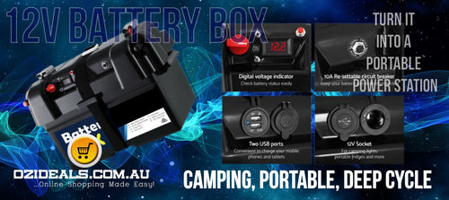 12V Camping  Portable Deep Cycle Battery Box