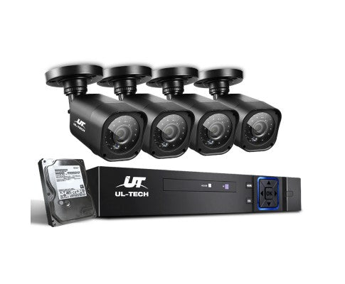 4 CCTV 4 Camera Security System 2TB 8CH DVR 1080P
