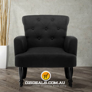 French Lorraine Chair Retro Wing - Black