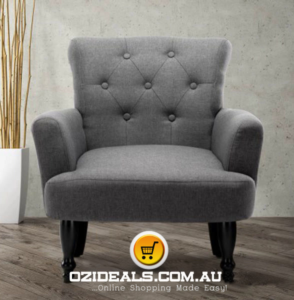 French Lorraine Chair Retro Wing - Grey